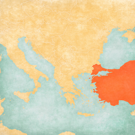 Turkey on the map of Balkans in soft grunge and vintage style, like old paper with watercolor painting. Stock Photo