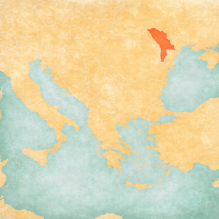 Moldova on the map of Balkans in soft grunge and vintage style, like old paper with watercolor painting.