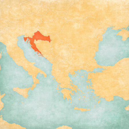 Croatia on the map of Balkans in soft grunge and vintage style, like old paper with watercolor painting.
