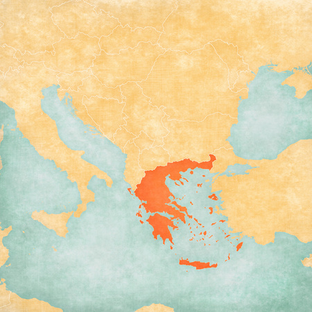 Greece on the map of Balkans in soft grunge and vintage style, like old paper with watercolor painting. Stock Photo