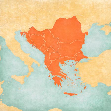 Karte mit Balkanländern im weichen Grunge- und Vintage-Stil, wie altes Papier mit Aquarellmalerei. Standard-Bild