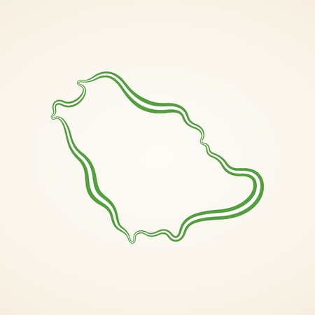 Outline map of Saudi Arabia marked with ribbon in colors from the flag. Ilustração