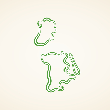 Outline map of Macau marked with ribbon in colors from the flag. Illustration