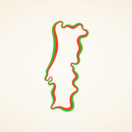 Outline map of Portugal marked with ribbon in colors from the flag. 일러스트