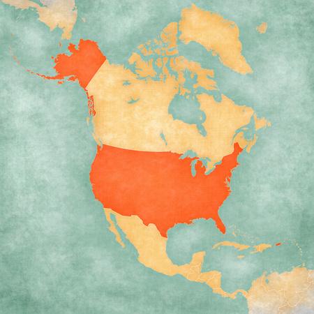 Stany Zjednoczone na mapie Ameryki Północnej w miękkim stylu grunge i vintage, jak stary papier z akwarelą.