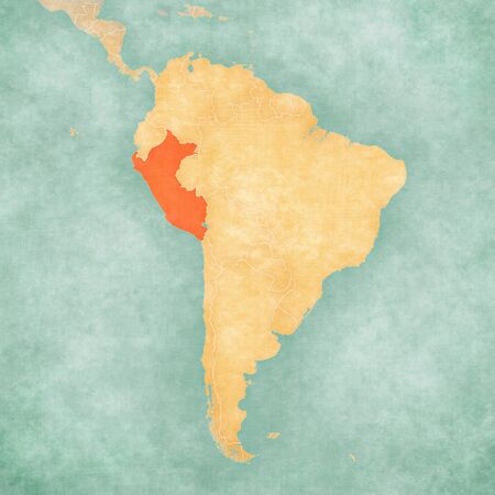 Peru on the map of South America in soft grunge and vintage style, like old paper with watercolor painting.