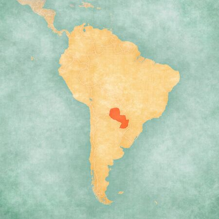 Paraguay on the map of South America in soft grunge and vintage style, like old paper with watercolor painting. Zdjęcie Seryjne