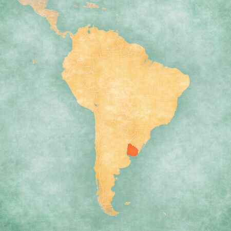 Uruguay on the map of South America in soft grunge and vintage style, like old paper with watercolor painting.