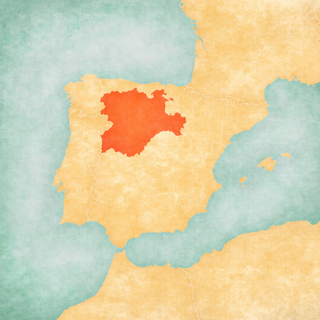 Castile and Leon on the map of Iberian Peninsula in soft grunge and vintage style on old paper. Banco de Imagens