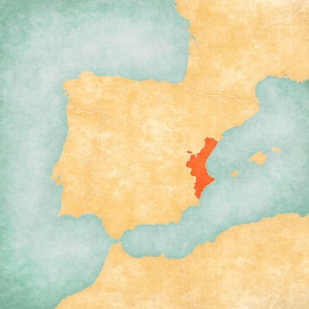 Valencian Community on the map of Iberian Peninsula in soft grunge and vintage style on old paper. 写真素材