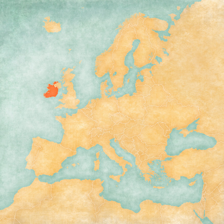 Ireland on the map of Europe in soft grunge and vintage style, like old paper with watercolor painting.