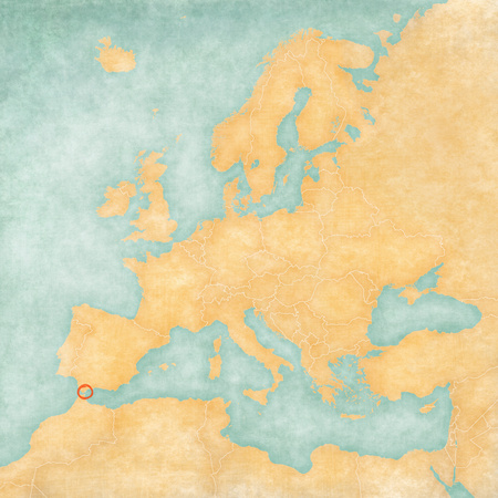 Gibraltar on the map of Europe in soft grunge and vintage style, like old paper with watercolor painting.