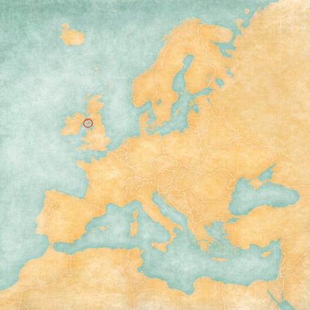 Isle of Man on the map of Europe in soft grunge and vintage style, like old paper with watercolor painting.