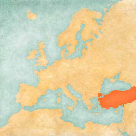 Turkey on the map of Europe in soft grunge and vintage style, like old paper with watercolor painting.