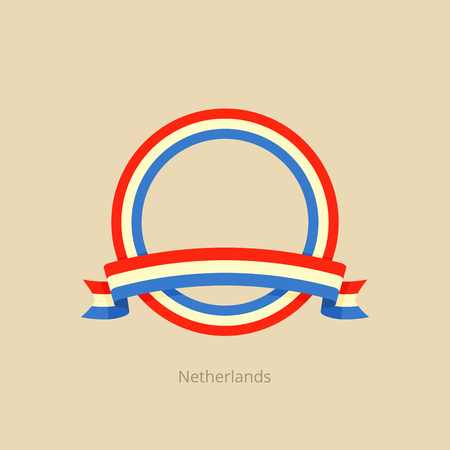 Ribbon and circle with flag of Netherlands in flat design style. Stock Illustratie