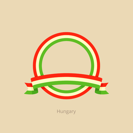 Ribbon and circle with flag of Hungary in flat design style. Ilustração