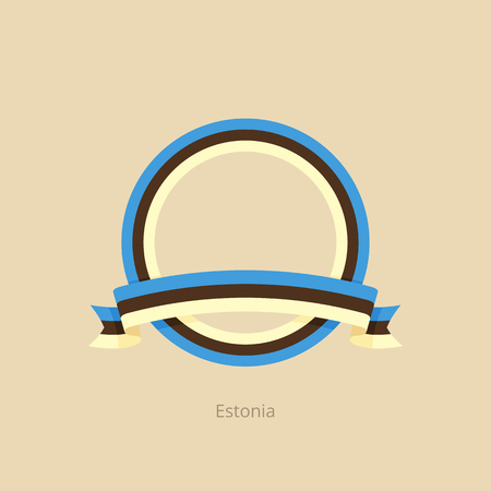 Ribbon and circle with flag of Estonia in flat design style.  イラスト・ベクター素材