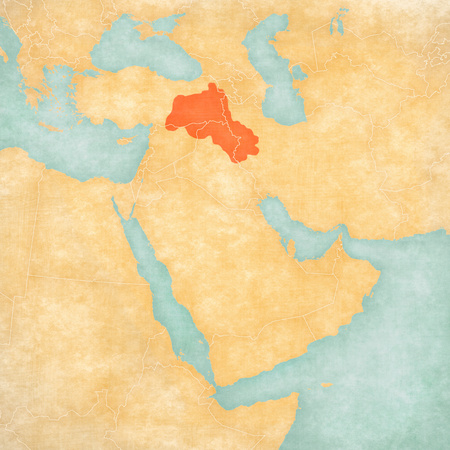 Kurdistan on the map of Middle East (Western Asia) in soft grunge and vintage style, like old paper with watercolor painting. Stok Fotoğraf