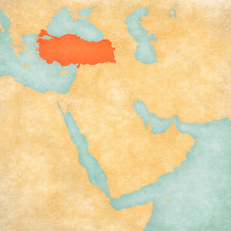 Turkey on the map of Middle East (Western Asia) in soft grunge and vintage style, like old paper with watercolor painting. Stock Photo