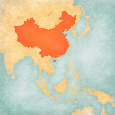 China on the map of East and Southeast Asia in soft grunge and vintage style, like old paper with watercolor painting.