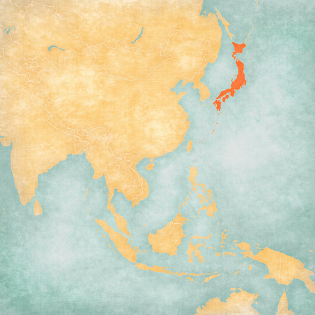 Japan on the map of East and Southeast Asia in soft grunge and vintage style, like old paper with watercolor painting. Reklamní fotografie - 115746018
