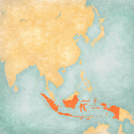 Indonesia on the map of East and Southeast Asia in soft grunge and vintage style, like old paper with watercolor painting.