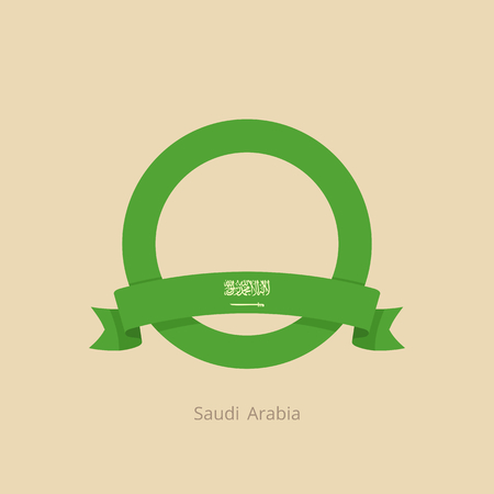 Ribbon and circle with flag of Saudi Arabia in flat design style.
