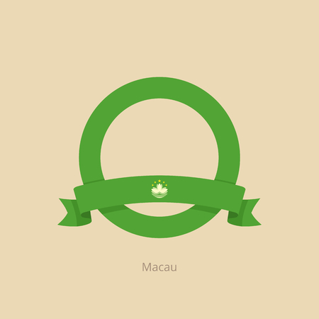 Ribbon and circle with flag of Macau in flat design style.