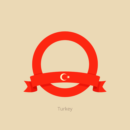 Ribbon and circle with flag of Turkey in flat design style.