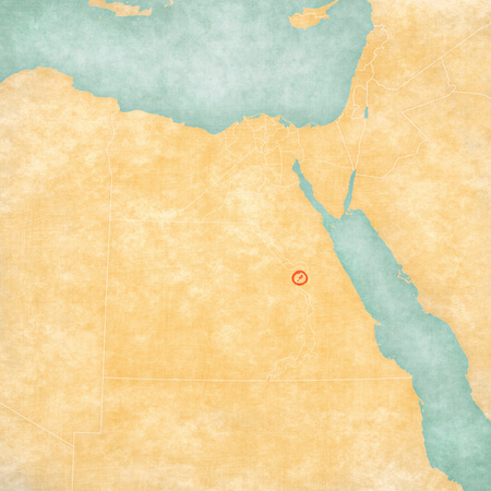 Luxor Governorate on the map of Egypt in soft grunge and vintage style, like old paper with watercolor painting.