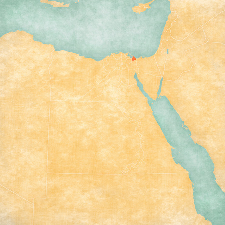 Port Said Governorate on the map of Egypt in soft grunge and vintage style, like old paper with watercolor painting. Stock Photo