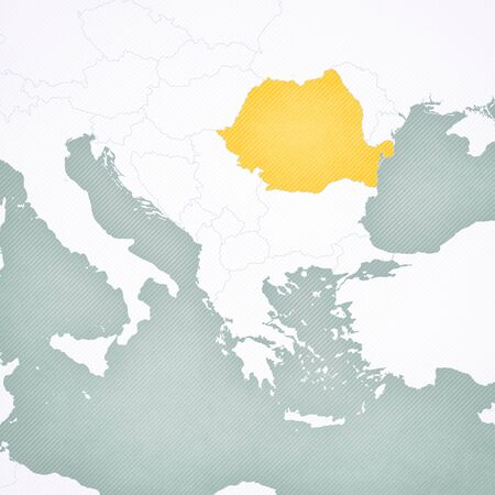 Romania on the map of Balkans with softly striped vintage background.