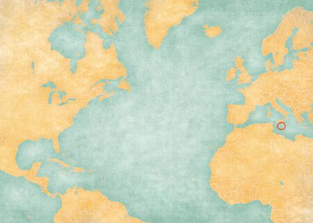 Malta on the map of North Atlantic Ocean in soft grunge and vintage style, like old paper with watercolor painting.