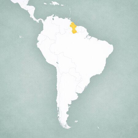Guyana en el mapa de América del Sur con fondo vintage suavemente rayado. Foto de archivo