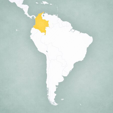 Colombia on the map of South America with softly striped vintage background.