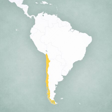 Chile on the map of South America with softly striped vintage background.