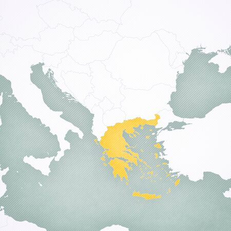 Greece on the map of Balkans with softly striped vintage background.