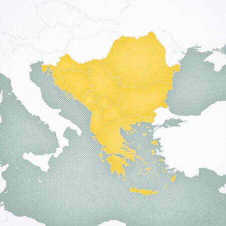 Map of all countries of Balkans with softly striped vintage background. 写真素材