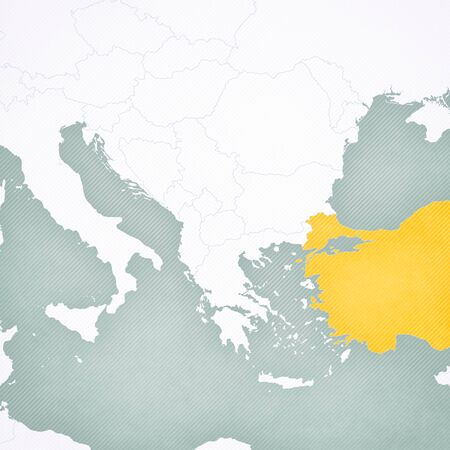 Turkey on the map of Balkans with softly striped vintage background. Stock Photo