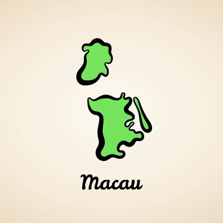 Green simplified map of Macau with black outline.