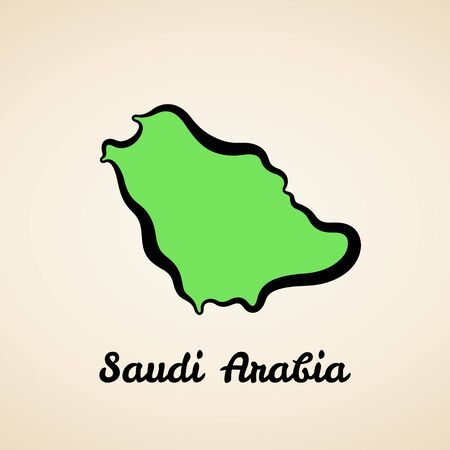 Green simplified map of Saudi Arabia with black outline.