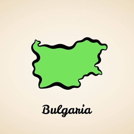Green simplified map of Bulgaria with black outline.