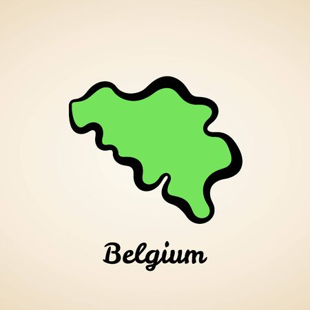 Green simplified map of Belgium with black outline.