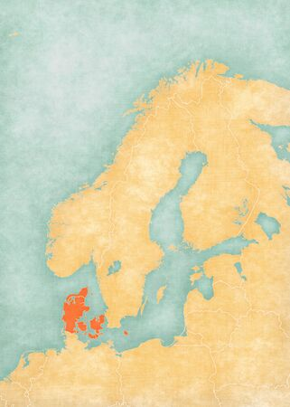 Denmark on the map of Scandinavia in soft grunge and vintage style, like old paper with watercolor painting.