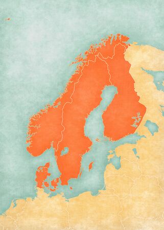 Norway, Sweden, Finland and Denmark on the map of Scandinavia in soft grunge and vintage style, like old paper with watercolor painting.