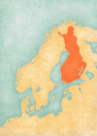 Finland on the map of Scandinavia in soft grunge and vintage style, like old paper with watercolor painting.
