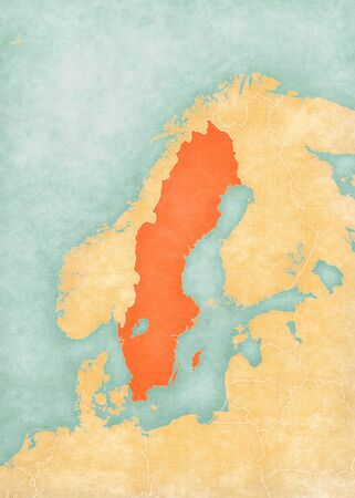 Sweden on the map of Scandinavia in soft grunge and vintage style, like old paper with watercolor painting.