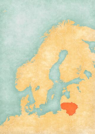 Lithuania on the map of Scandinavia in soft grunge and vintage style, like old paper with watercolor painting.