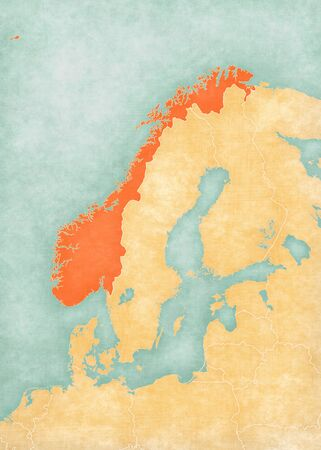 Norway on the map of Scandinavia in soft grunge and vintage style, like old paper with watercolor painting.