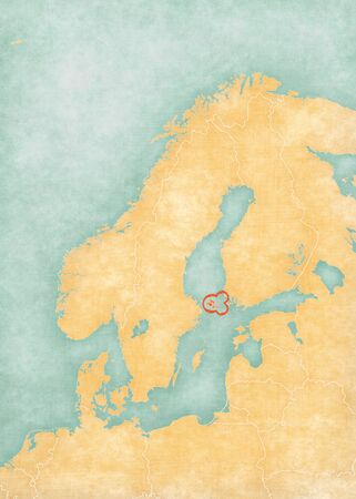 Aland Islands on the map of Scandinavia in soft grunge and vintage style, like old paper with watercolor painting.